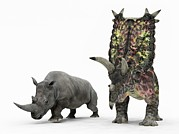 Rhinoceros Framed Prints - Rhino And Pentaceratops Dinosaur Framed Print by Walter Myers