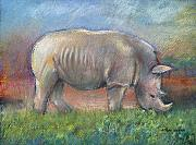 Wildlife Pastels - Rhino by Arline Wagner