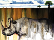African-american Mixed Media - Rhino I rooted ground by Anthony Burks
