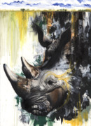African-american Mixed Media Prints - Rhino II Print by Anthony Burks