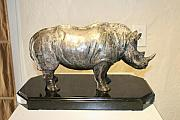 Still Life Sculptures - Rhino In Bronze by Victor Douieb