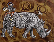 Surrealism Drawings Prints - Rhino Mechanics Print by Iosua Tai Taeoalii