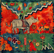 Rhino Tapestries - Textiles Framed Prints - Rhino Framed Print by Sandra Kern