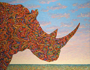 Wildlife Landscape Painting Prints - Rhino-shape Print by James W Johnson
