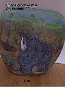 Animals Ceramics - Rhino by Vijay Sharon Govender