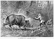 Annamese Framed Prints - Rhinoceros Hunt, 1889 Framed Print by Granger