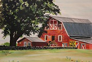 Red Roofed Barn Art - Rhode Island Red Barn by Carolyn Valcourt