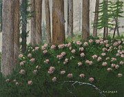 Sun Rays Painting Prints - Rhododendrons and Redwoods Print by L J Oakes