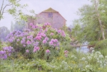 Purple Flowers Posters - Rhododendrons by a watermill Poster by George Marks