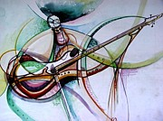 Oyoroko Ken Ochuko Paintings - Rhythm of the Strings by Oyoroko Ken ochuko