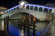 Night Pyrography Prints - Rialto Bridge - Venice Print by Radu Aldea