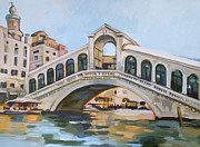 Buildings Mixed Media Originals - Rialto Bridge by Filip Mihail