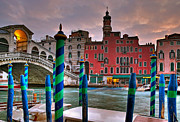 Gondolier Framed Prints - Rialto Bridge. Venezia Framed Print by Juan Carlos Ferro Duque