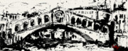 Architecture Mixed Media Prints - Rialto Bridge Venice Print by Ginette Fine Art LLC Ginette Callaway