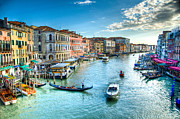 Canals Framed Prints - Rialto Bridge View Framed Print by Jon Berghoff