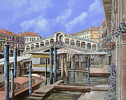 Bridge Painting Framed Prints - Rialto dal lato opposto Framed Print by Guido Borelli