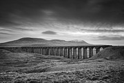 Mono Prints - Ribblehead Viaduct Uk Print by Ian Barber