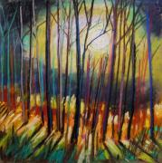 Forest Pastels Originals - Ribbons of Moonlight by John  Williams