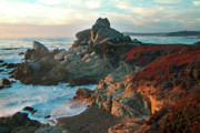 Big Sur Metal Prints - Ribera Beach Sunset Carmel California Metal Print by Charlene Mitchell