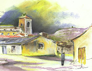 Old Houses Drawings Acrylic Prints - Ribera del Duero in Spain 05 Acrylic Print by Miki De Goodaboom