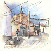 Old Houses Drawings Acrylic Prints - Ribera del Duero in Spain 12 Acrylic Print by Miki De Goodaboom