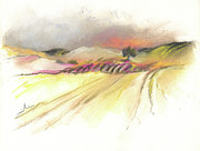 Hills Drawings Prints - Ribera del Duero in Spain 16 Print by Miki De Goodaboom