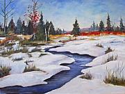 Snowy Brook Paintings - Rice Lake by Diane Daigle
