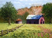 Split Rail Fence Pastels Prints - Rich Fountain Barn Print by Lorraine McFarland