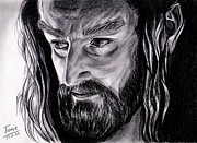 Richard Drawings Posters - Richard Armitage Thorin Oakenshield Poster by Joane Severin