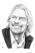 Richard Drawings Posters - Richard Branson Poster by Murphy Elliott