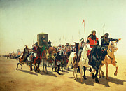 Flags Paintings - Richard Coeur de Lion on his way to Jerusalem by James William Glass