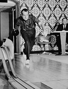 Entertainers Photo Prints - Richard Nixon Bowling At The White Print by Everett
