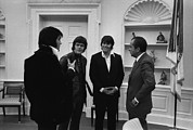 Popular Music Prints - Richard Nixon Meeting Elvis Presley Print by Everett