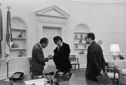 White House Framed Prints - Richard Nixon Meeting With Elvis Framed Print by Everett