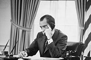 Nixon Framed Prints - Richard Nixon On The Phone In The Oval Framed Print by Everett