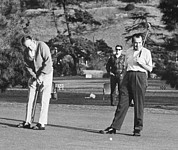 Actors Prints - Richard Nixon Playing Golf Print by Everett