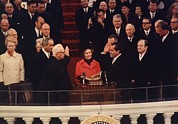 First Lady Photo Framed Prints - Richard Nixon Taking The Oath Of Office Framed Print by Everett
