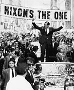 Waving Acrylic Prints - Richard Nixon. Us Presidential Acrylic Print by Everett