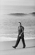 Politics Photo Framed Prints - Richard Nixon Walking On The Beach Framed Print by Everett