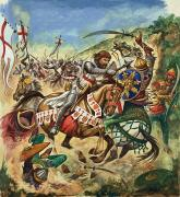 English Horse Prints - Richard the Lionheart during the Crusades Print by Peter Jackson