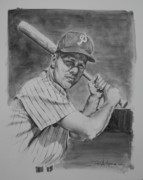 Sports Portrait Drawings Drawings - Richie Ashburn by Paul Autodore