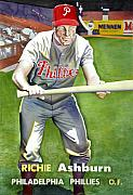 Baseball Drawings Posters - Richie Ashburn Topps Poster by Robert  Myers