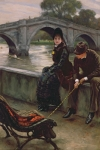 Bench Paintings - Richmond Bridge by James Jacques Joseph Tissot