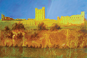Neil Mcbride Framed Prints - Richmond Castle in gold Framed Print by Neil McBride