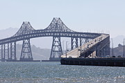 Steel Construction Prints - Richmond-San Rafael Bridge in California - 5D18440 Print by Wingsdomain Art and Photography