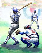 Baseball Drawings Framed Prints - Rick Monday Framed Print by Mel Thompson