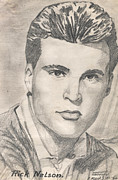Old Drawings Posters - Rick Nelson 1 Poster by Kate Black