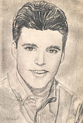 Pencil Portrait Drawings - Rick Nelson 2 by Kate Black