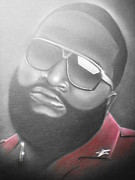 Hiphop Paintings - Rick Ross  by Charles Thomas