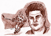 Flyers Hockey Drawings - Rick Tocchet by Chris  DelVecchio
